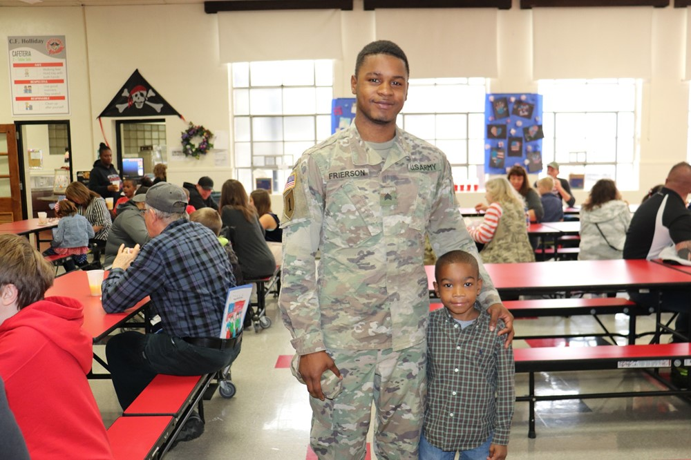 Father and Son at Veterans Day Celebration