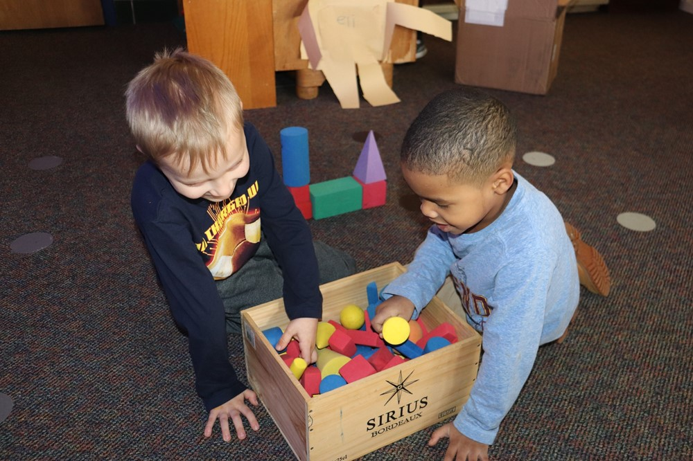 Kindergarten Boys with Blocks