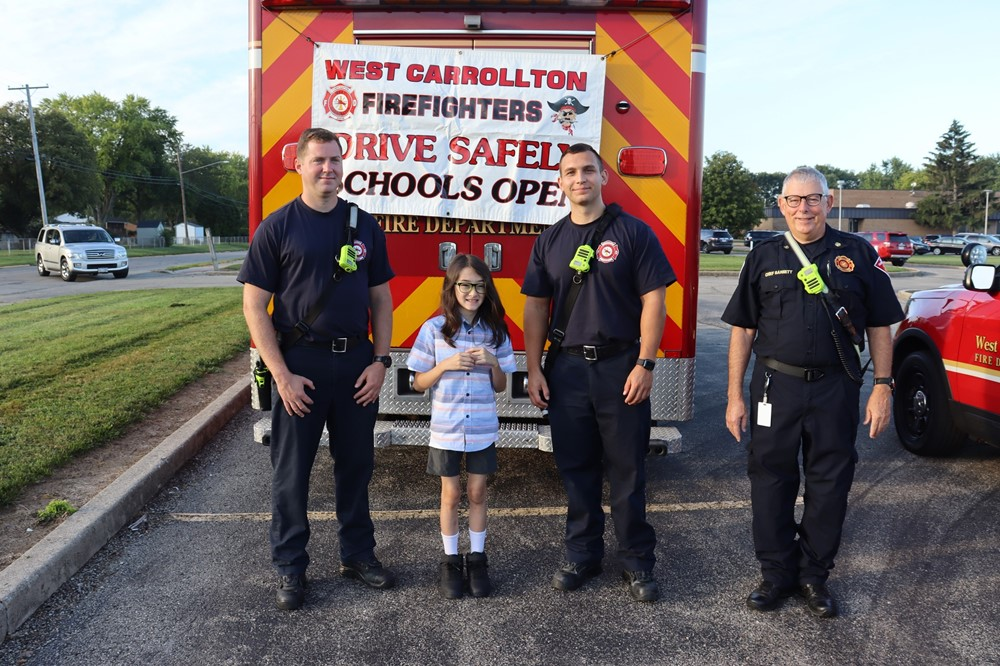 WC Firefighters with Schnell Student